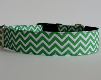 "St. Patrick Day Large Dog Collar - Green Reverse Chevron 1.5"" Wide - READY TO SHIP!"