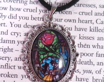 Beauty and the Beast Stained Glass Window Necklace. Cameo Pendant on Adjustable Faux Suede Choker. Gift for Her.