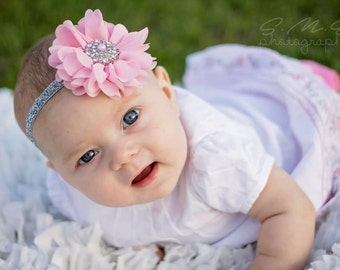Pink & Silver Gray Vintage Baby Newborn Flower Headband  ~ Baby Newborn Photo Prop ~ Baby Headband