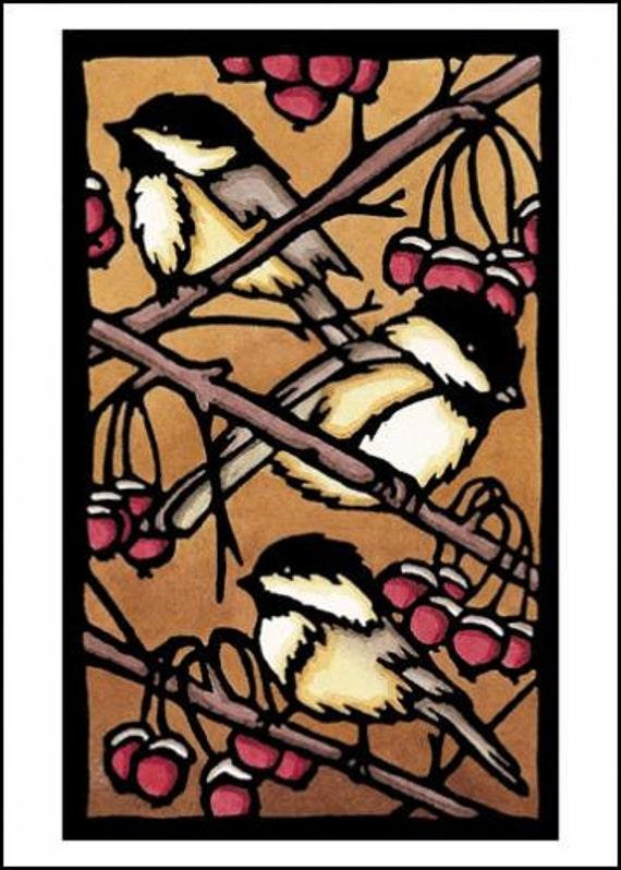 Three Chickadees - Single Blank Sarah Angst Greeting Card - Birds in a Berry Tree