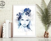 Frost - Signed Art Print - Watercolor Abstract Portrait Painting by zacher-finet