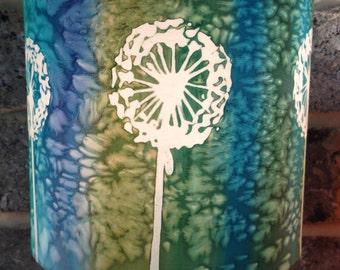 Blue Green Dandelion Clock, Hand Silk Painted Lamp Shade, 20cm Diameter Drum, Made To Order.