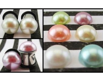 Pastel Pearls wedding stainless steel fancy pretty EAR PLUG earrings you pick gauge and colors 8g, 6g, 4g, 2g, 0g aka 3, 4mm, 5mm, 6mm, 8mm