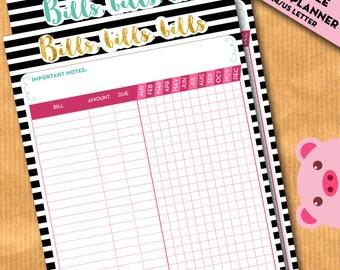 Bills payment tracker, bills checklist, Budget planner, financial binder - insert for filofax, kikki.K, organizer - PRINTABLE PDF