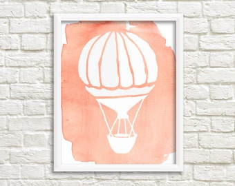 Hot Air Balloon Art Print Nursery Wall Decor Printable Peach Coral White Hot Air Balloon Watercolor home decor printable wall art download