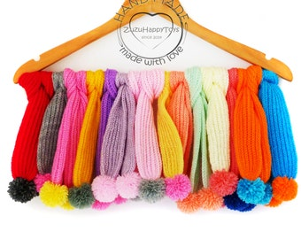 Knitted scarf with pompoms for doll, Knitted accessories for toys