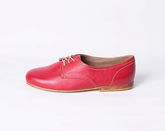 Mens Leather Shoes with Leather Soles (Red Color)