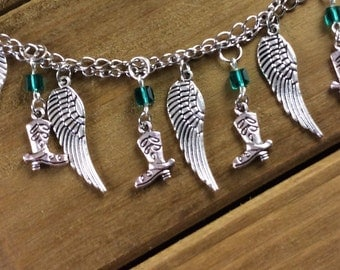 Charm Necklace with boots and feathers