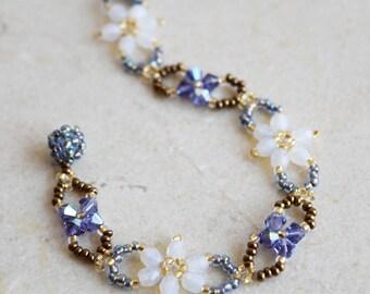 Beaded Bracelet, Swarovski Crystal Woven Bracelet, Czech Glass Flower Bracelet, Crystal Woven Bracelet, Gift for Her, Clematis / BC #010
