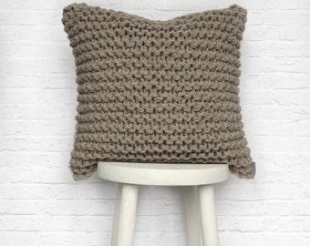 Chunky Knit Cushion Pillow in Oatmeal - Hand Knitted Garter Cushion