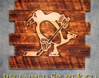 Pittsburgh Penguins ~ Hockey, FREE UV protector, 30X23, Burnt wall hanging, Shou Sugi Ban, Charred wood, Sports sign, Wood Sports sign