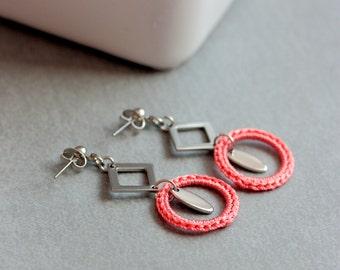 Coral pink earrings, Crochet jewelry, Crochet earrings handmade, Dangle earrings, Fiber earrings, Hypoallergenic earring, Geometric earring