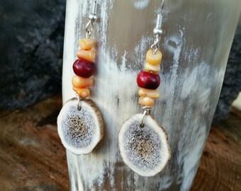 Red & Orange Coral Antler Earrings
