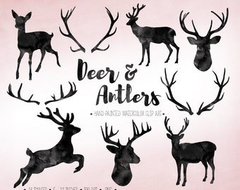 Deer & Antler Clipart. Black Watercolor Deer Silhouettes. Scrapbooking Stag, Doe, Deer Clip Art. Hand Painted Watercolor Deer Clipart.