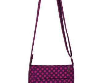 Crossbody Purse, Cross Body Bag, Hipster Purse, Purple and Black Bag, Zipper Purse, Gift for Her