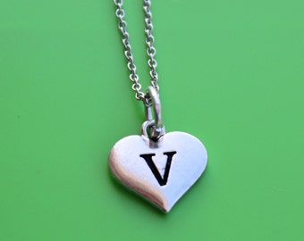HEART INITIAL stainless steel NECKLACE,initial or number,heart,initial,monogram,number,personalized,letter,heart initial