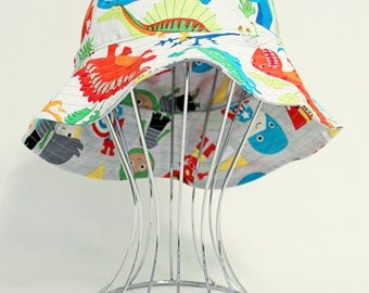 "Reversible Babies Bucket Hat - ""Dinosaurs & Superheroes"", made to order, sunhat, babies hat"