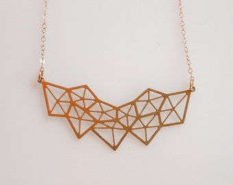 Geometric Diamond Gold Necklace,  Gold Statement Necklace, Geometric Pendant, Geometric Gold Necklace