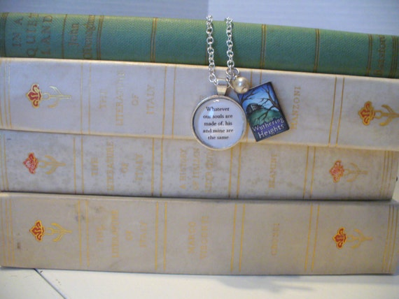 Book Nook Necklace, Quote Necklace, Book Necklace, Literature Necklace, Emily Bronte, Wuthering Heights, Silver Chain, MarjorieMae