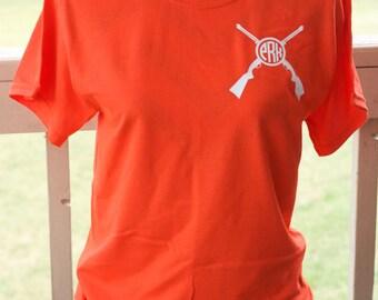 Monogram Rifle Short Sleeve Shirt. Monogrammed Rifle. Hunting Shirt. Hunting. Hunter's Wife.