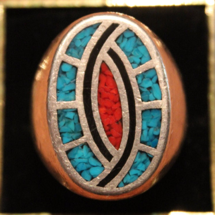 Taxco Silver Turquoise Mens Ring