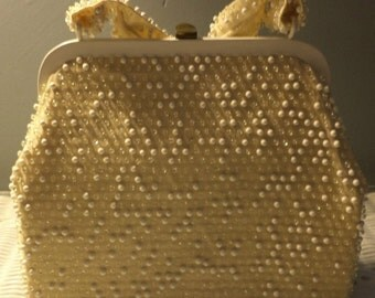 Beads on a Vintage Gold Evening Bag