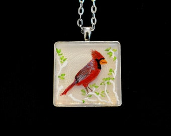 cardinal pendant, cardinal painted pendant, cardinal jewelry, cardinal gifts, gifts for her