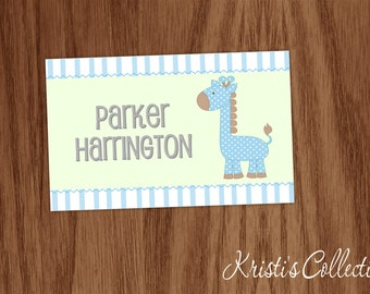Diaper Bag Tag, Personalized Giraffe Luggage Backpack Diaper Bag Tag - Baby Boy Gift