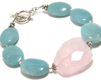 Gemstone Bracelet, Pink and Aqua Bracelet, Multicolor Gemstone Bracelet, Amazonite Bracelet, Rose Quartz Bracelet