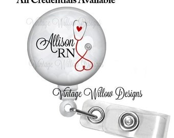 Personalized ~ Gray Bokeh ~ Heart Stethoscope Retractable ID Badge Reel (Any Credentials)