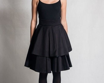 Black full circle skirt / High waist skirt / Double layer black skirt / Knee length black skirt / Elegant woman's skirt / Fasada 15102