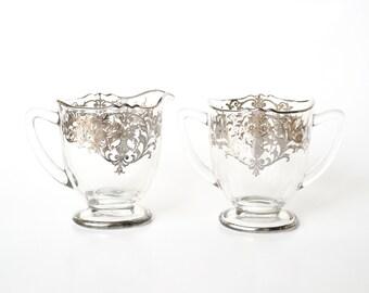 1950s Silver City Sugar Creamer Set Silver Embossed Glass