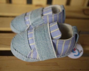 Girls  or Boys Handmade Baby shoes 9  12 months Cotton and Denim