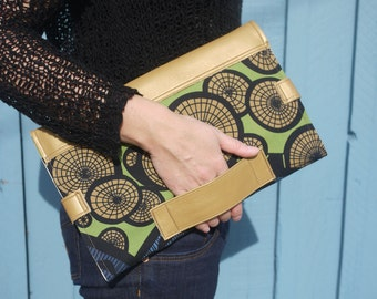 Diaper bag and changing mat in one, handmade in gold leather and retro printed cotton, perfect baby shower gift