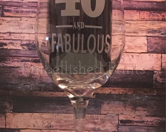 Personalized 20 Ounce Etched 40th Birthday Wine Glass