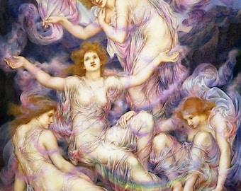 "Evelyn De Morgan ""Daughters of the Mist"" 1905 Reproduction Digital Print Spiritual Women in Spirit Heaven Rainbow Star"