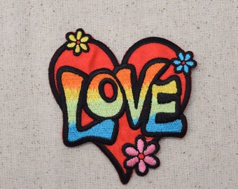 Love - Heart - Red or Pastel Multicolor - Iron on Applique - Embroidered Patch