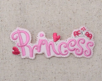 Pink Princess - Crown and Hearts - Embroidered Patch - Iron on Applique - 695648B