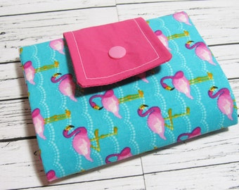 Tri Fold Womens Fabric Wallet, Flamingo Wallet, Handmade Card Organizer with Zip Coin Purse, Cash and Carry On The Go Wallet, Gift for Her