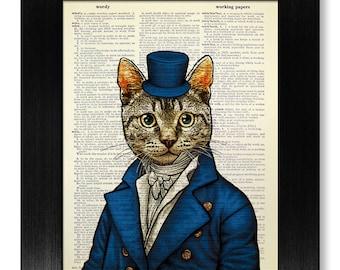 Cat Art Print, Tabby CAT Print, DICTIONARY Art Print, Dictionary PRINT, Dictionary Page Art, Tabby Cat Painting, Cat Wall Art, Cat Poster
