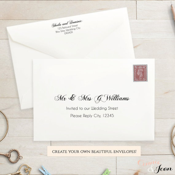 Printable Wedding 9x6 Envelope Template Invitation Envelope