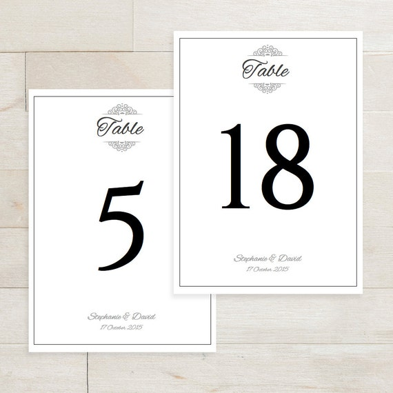 wedding table numbers printable editable table by