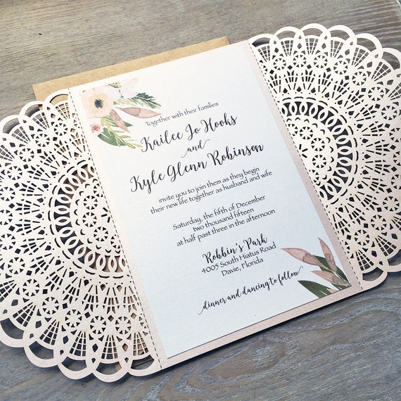 KAILEE - Blush and Kraft Laser Cut Rustic Wedding Invitation - Blush Laser Cut Gatefold invite w/ Floral Design, Kraft Envelopes, and Twine