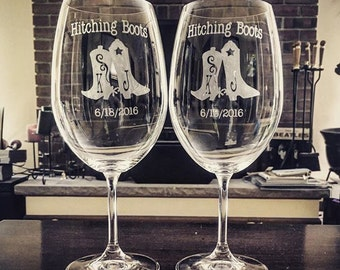 Hand made personalized etched hitching boots wine/Mason jar glasses