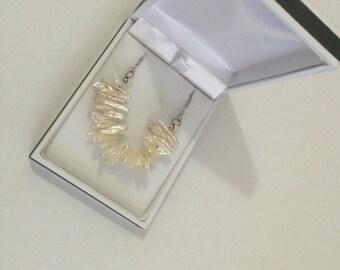 Biwa Stick Pearl Necklace. Silver Chain