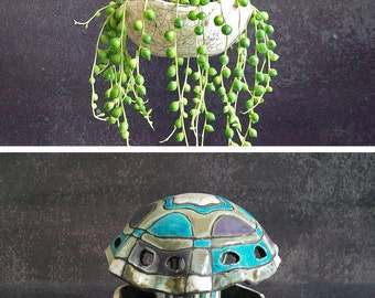 ceramic jellyfish hanging planter pot, hanging terrarium, coastal decor, raku pottery planter, ceramic planter, hanging pot, indoor planter