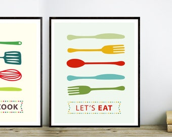 Let's cook, Fork Knife Spoon Print Poster, Wall Art, Mid Century Art, Kitchen Art, Retro Food Print - Fork Knife Spoon Eat Well