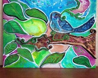 Polymer and Acrylic Bird Painting
