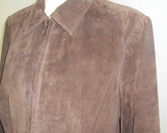 Vintage leather suede Jacket blazer by Yvonne Marie chocolate brown size medium