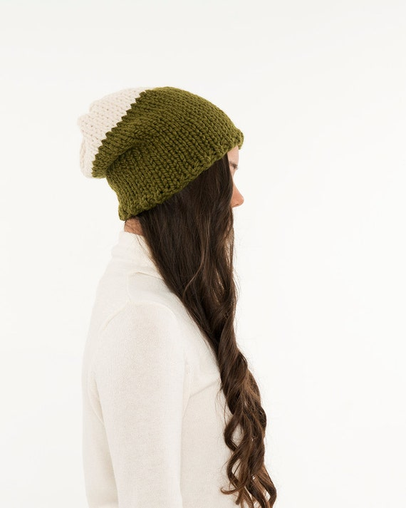 Slouchy Toque Knitting Pattern : Knit Slouchy Two-Tone Toque Hat Chunky Wool by BrennaAnnHandmade